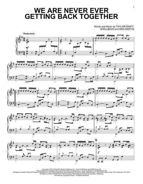 taylor swift chords back together we are never ever getting back together sheet music by