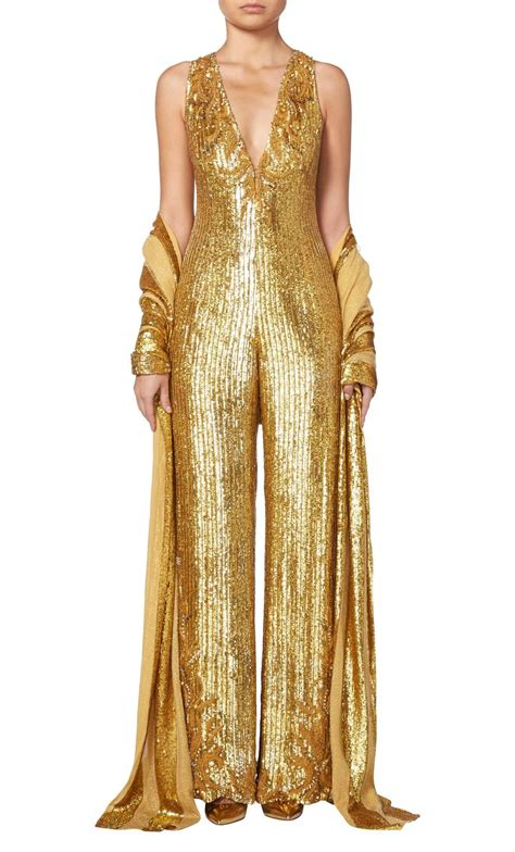 Vintage Home Interiors balestra gold sequin jumpsuit circa 1990 at 1stdibs
