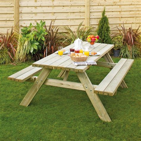 homebase garden bench grange rectangular wooden garden picnic table with fold up
