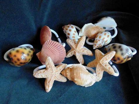 seashell shower curtain hooks sea shell seashell shower curtain hooks rings bathroom set
