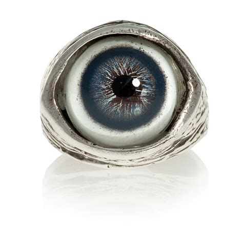human evil eye ring in blue solid sterling silver size 4 to