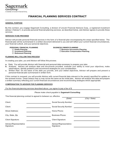 financial planning agreement template financial planning services contract
