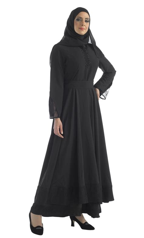 zipper abaya with lace black shop at discount price