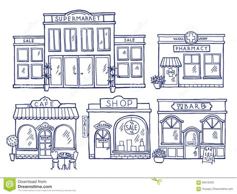 doodle shop buildings facade front view shop cafe mall and pharmacy