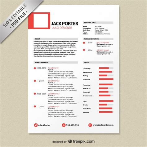 creative resume template free psd file free