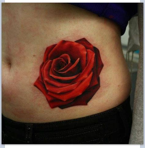 rose stomach tattoo designs realistic for the