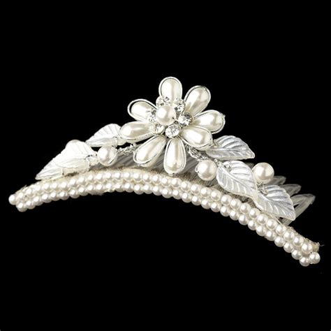 Faux Pearl Leaves Headpiece child s silver white pearl flower headpiece 854 w leaves