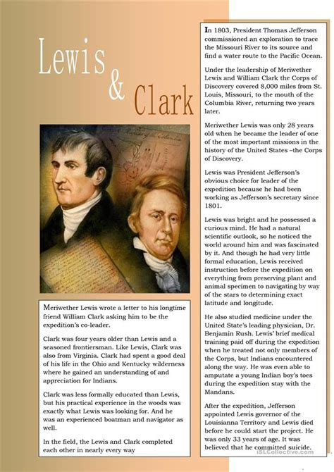 free printable lesson plans on lewis and clark lewis and clark worksheet free esl printable worksheets