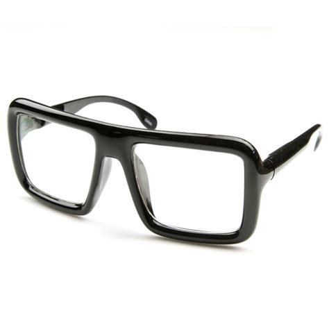 large bold thick square frame clear lens glasses