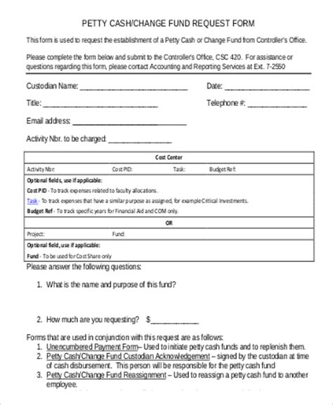 money request form template 9 sle petty request forms sle templates