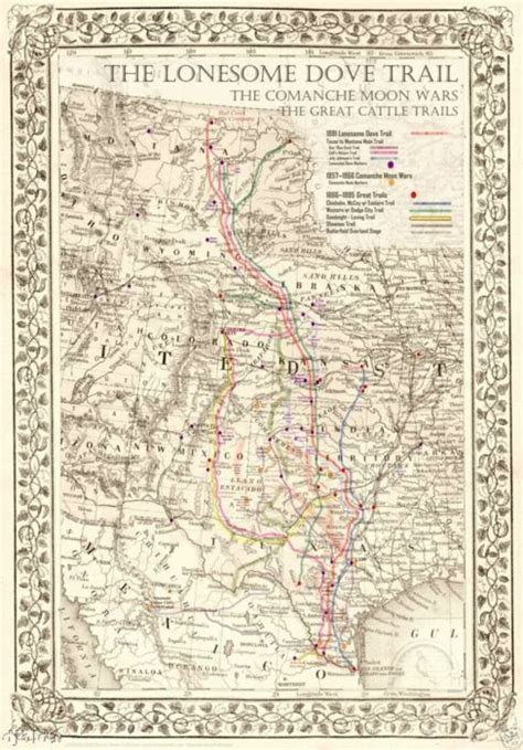 Living Room Hike Map by Lonesome Dove Trail For The Living Room Wall