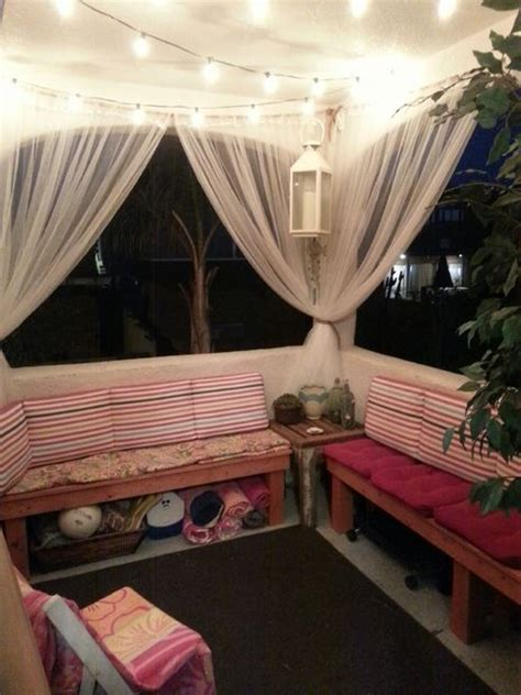 apartment balcony curtains diy outdoor wood bench outdoor benches patio and net
