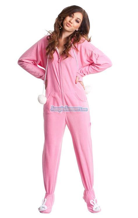 drop seat hoodie pajamas for adults bunnylicious drop seat hooded footed pajamas features