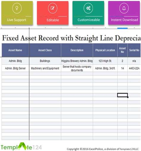 line depreciation template fixed asset tax depreciation template excel financial