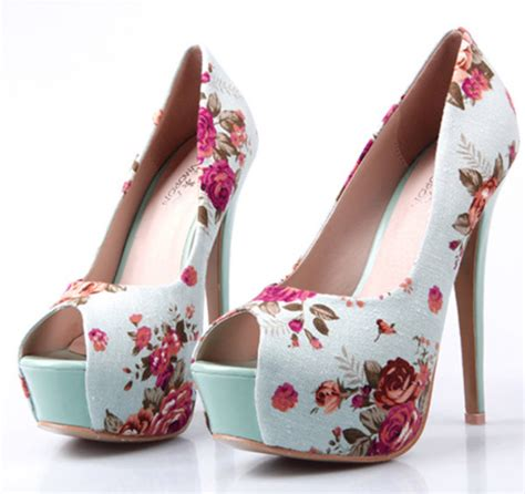 pretty high heel shoes pictures shoes high heels blue high heels floral print shoes