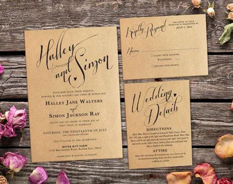printing wedding invitations at home rustic kraft wedding invitation suite vintage country