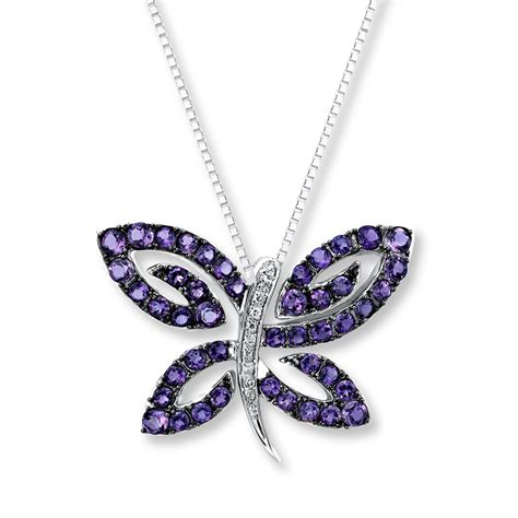 amethyst butterfly necklace with diamonds sterling
