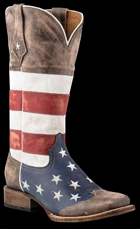 roper american flag square toe brown toe cap cowboy