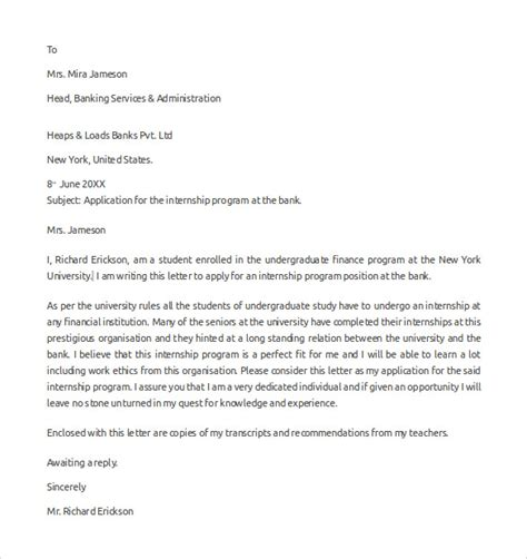 application letter sle in a bank application letter for bank internship 28 images 7
