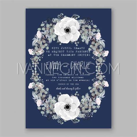 card wreath template anemone wedding invitation card template floral bridal