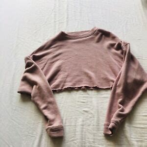cropped hoodie baby pink size xs oversized long sleeves ebay