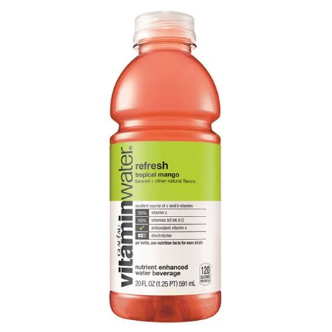Vitamin Watter vitamin water refresh tropical mango 20 oz plastic bottles