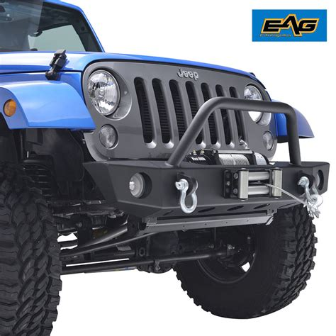 Jeep Jk Winch Plate Front Bumper With Oe Fog Light Holes Winch Plate For 07
