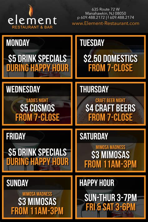 restaurant specials element restaurant bar manahawkin nj