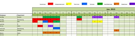 employee leave schedule template the standard template can be used up to 50 employees the