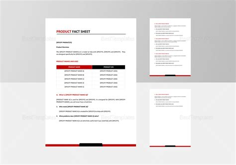 Product Fact Sheet Template In Word Google Docs Apple Pages Fact Sheet Template Docs