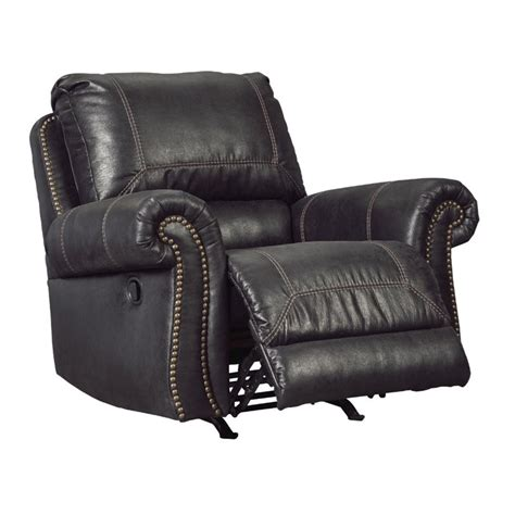 black leather rocker recliner ashley milhaven faux leather rocker recliner in black
