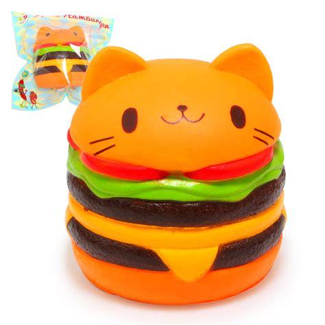 Squishy Burger jumbo squishy kawaii cat hamburger charms bread scented rising soft pu