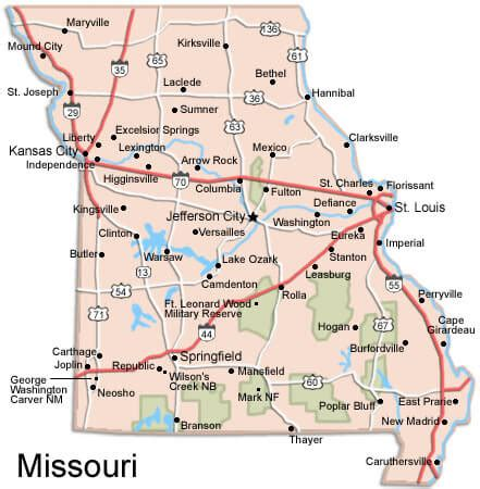 map of us states missouri missouri map