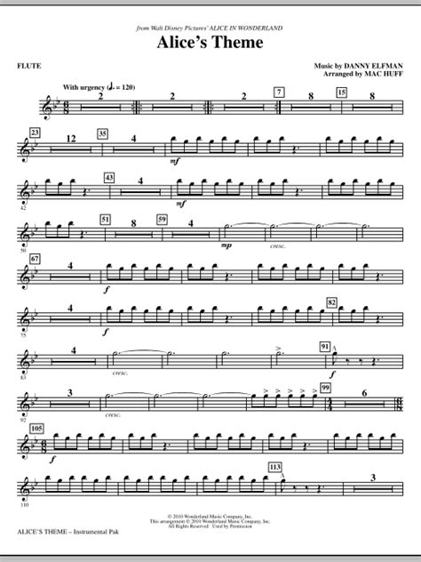 Alice's Theme - Flute | Sheet Music Direct