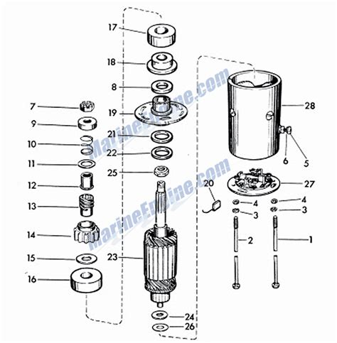 starter motor parts diagram evinrude lark starter motor parts for 1960 40hp 35520