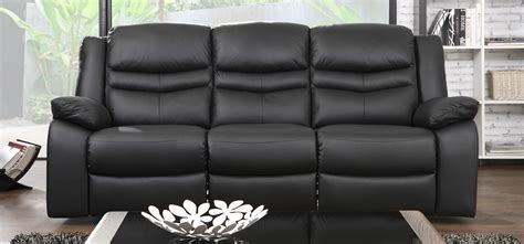 Black Leather Sofa Set Price Venice Electric 3 2 Seater Recliner Midnight Black Leather