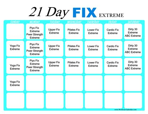 I S D Calendar 21 Day Fix Workout Calendar 2017 Calendar Printables