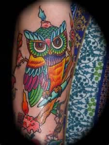 colorful owl tattoos colorful owl tattoos