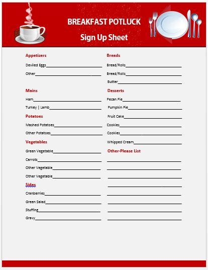 Potluck Signup Sheet Template Microsoft by 13 Charming Breakfast Potluck Sign Up Sheets Free Word