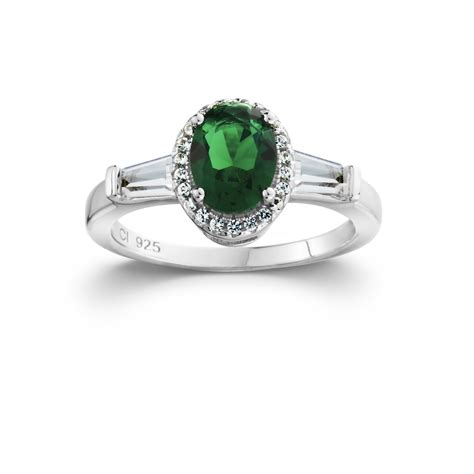 sterling silver oval halo simulated emerald ring