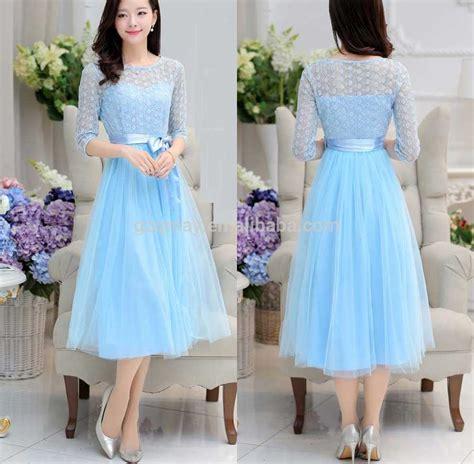 desain gaun formal wanita gemuk model baru fashion selutut lengan panjang