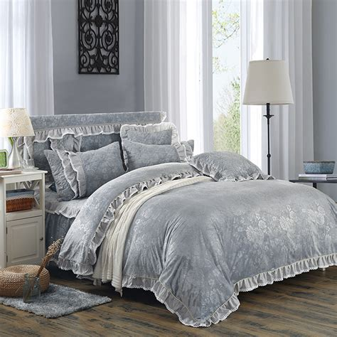 Fleece Bed Sets Fleece Fabric Warm Bedding Set Grey Luxury Embossing Duvet