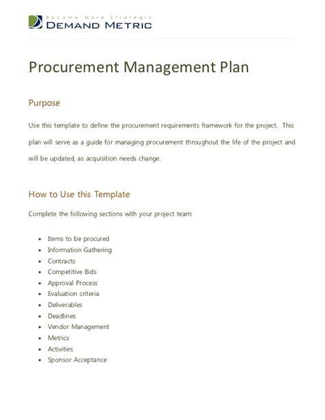 procurement management template procurement management plan
