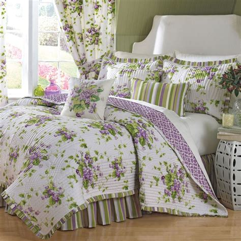 Flowered Comforters by Sweet Violets Floral Quilt Set Bedding By Waverly