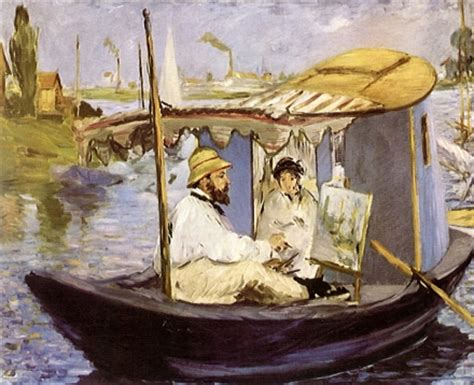 manet monet in his studio boat epph manet s monet painting on his studio boat 1874