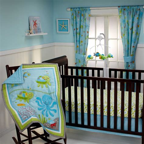 Sea Themed Crib Bedding by The Sea Wall Mural For The Nursery