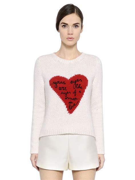 Sweater Normal Heartbeat Abu valentino intarsia sweater in white lyst
