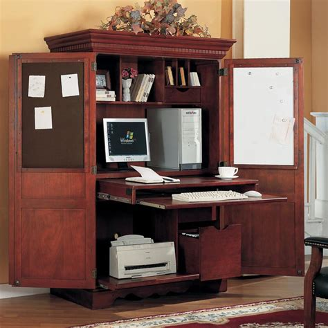 computer armoire traditional cherry at hayneedle