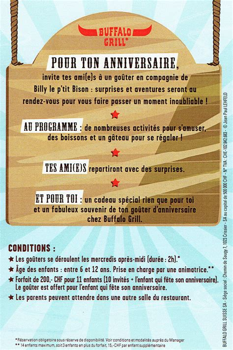 Anniversaire Enfant Buffalo Grill by Invitation Anniversaire Buffalo Grill Gosupsneek