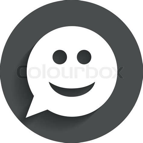 Flat Smile smile sign icon happy smiley chat symbol speech